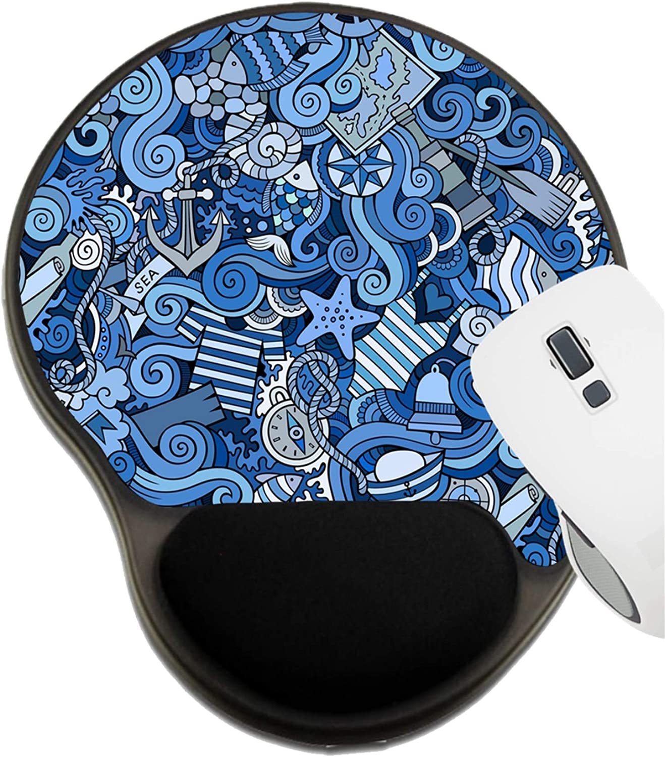 MSD Mousepad Wrist Rest Protected Mouse Pads 40908764 Seamless Abstract Pattern Nautical and Marine Background Mat with Wrist Support ID