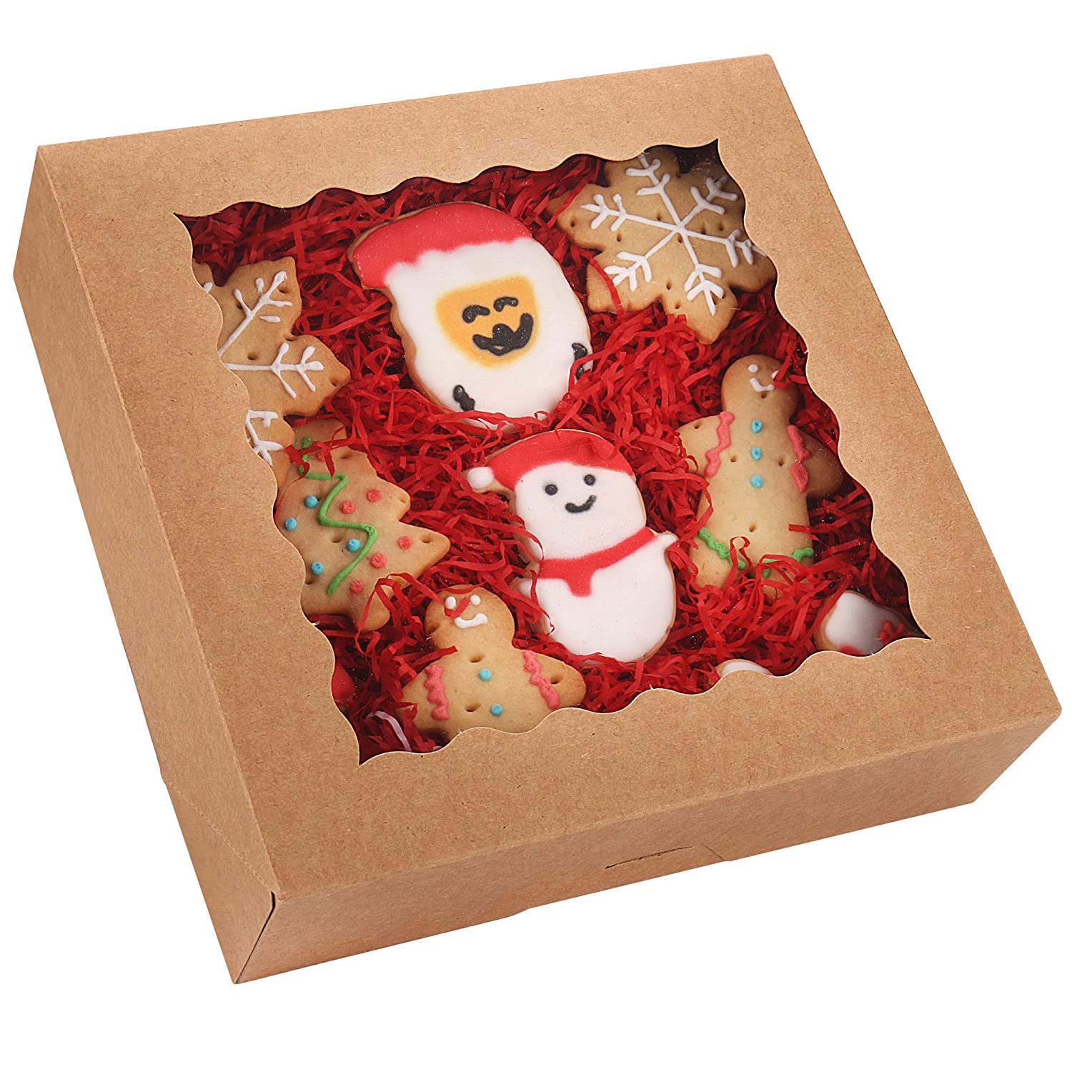 """20-Pack Pie Boxes with Window, 9"""" x 9"""" x 2.5"""", Brown Cookie Boxes, Kraft Bakery Boxes for Muffins, Donuts and Pastries"""