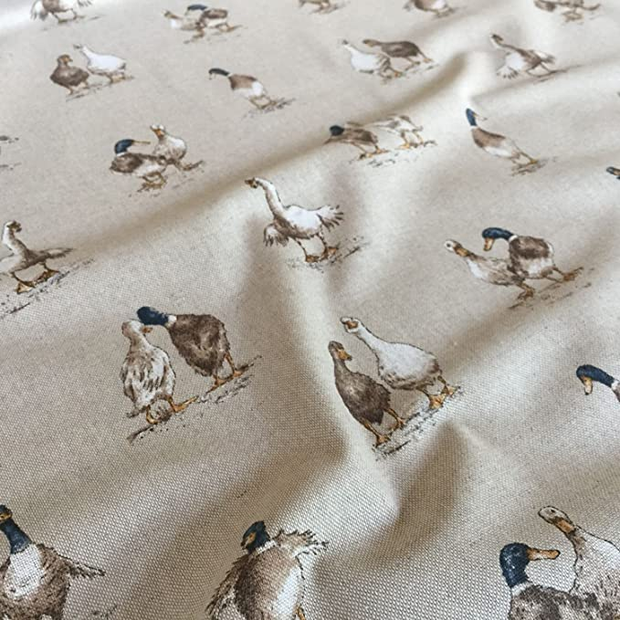 "Shabby Ducks Design Cotton Rich Linen Fabric Curtaining /& Upholstery 54/"" Wide"