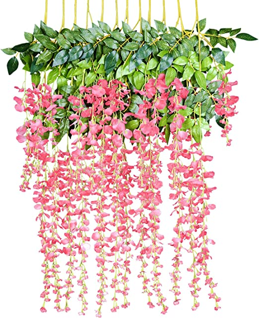 2 Pieces Artificial Pink Flower Vines Hanging Home Party Wedding Decor