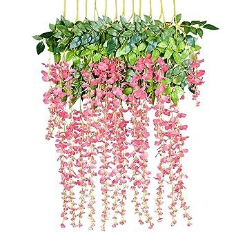 506e050f0d0 12 Pack 1 Piece 3.6 Feet Artificial Fake Wisteria Vine Ratta Hanging  Garland Silk Flowers String Home Party Wedding Decor (Pink)