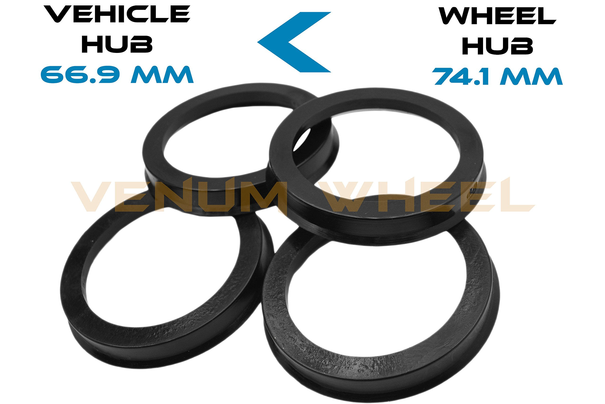 4 Hub Centric Rings 66.9 ID To 74.1 OD Black Polycarbonate Material ( Vehicle 66.9mm to Wheel 74.1mm)