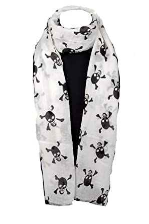 43b489f14632ef Damen Schal und Tuch Halstuch mit coolem Totenkopf Muster in Weiß ...