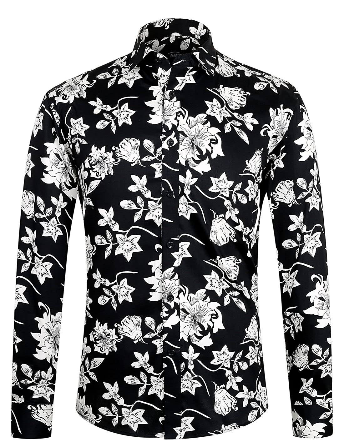APTRO Men's Cotton Fashion Long Sleeve Floral Shirt