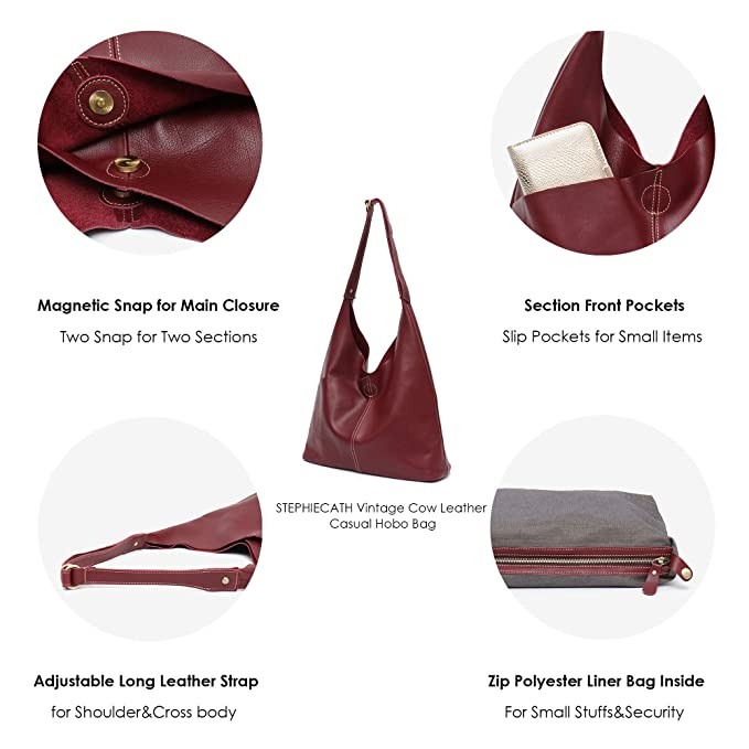 6a5716236c1a Amazon.com  Genuine Leather Women s Shoulder Bag STEPHIECATH Large Casual  Soft Real Leather Skin Tote Vintage Snap Basket Carry Bag (WINE RED)   Musical ...