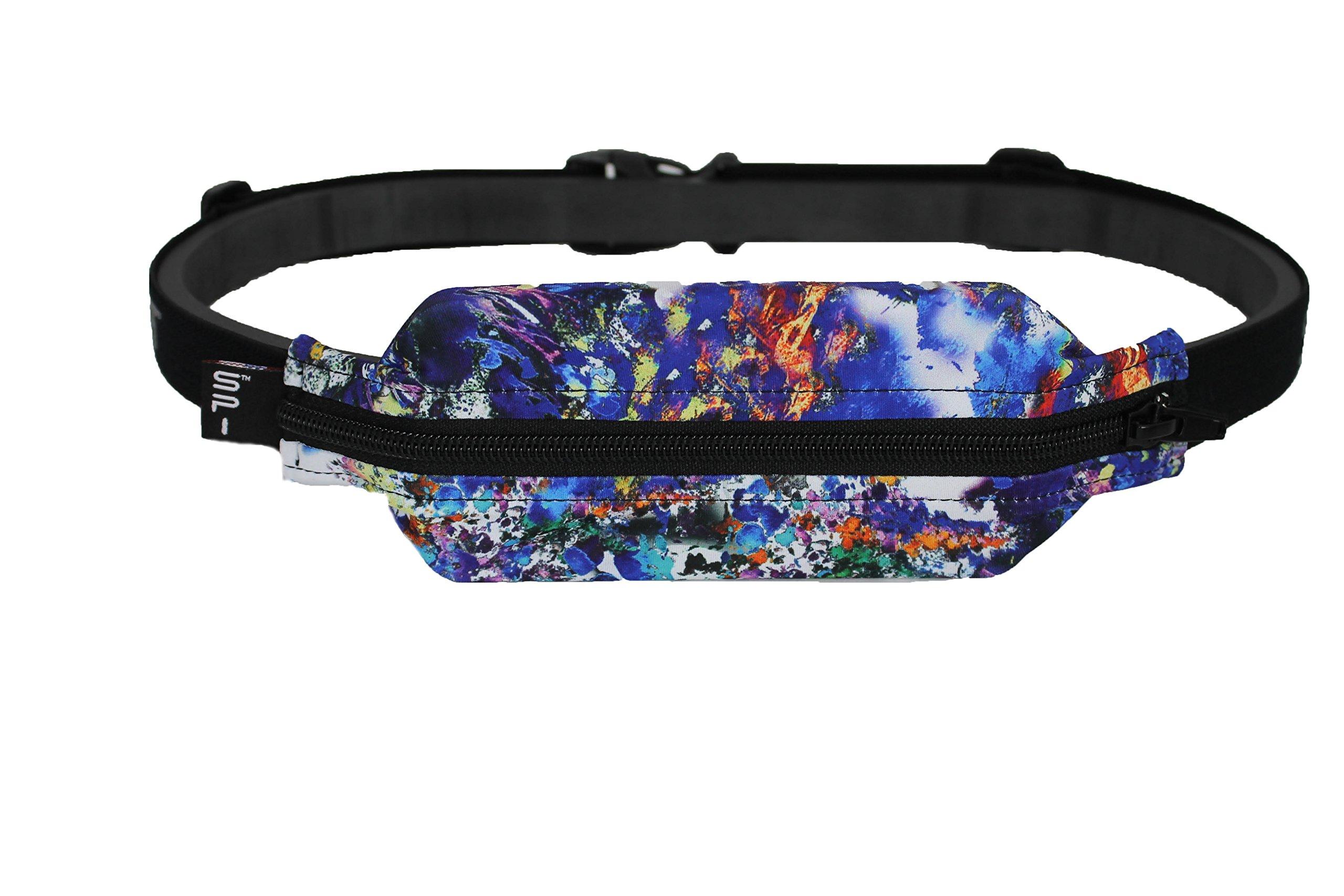 SPIbelt Running Belt: Adult Large Pocket - No-Bounce Running Belt for Runners, Athletes and Adventurers (Reef with Black Zipper, 25'' through 47'')