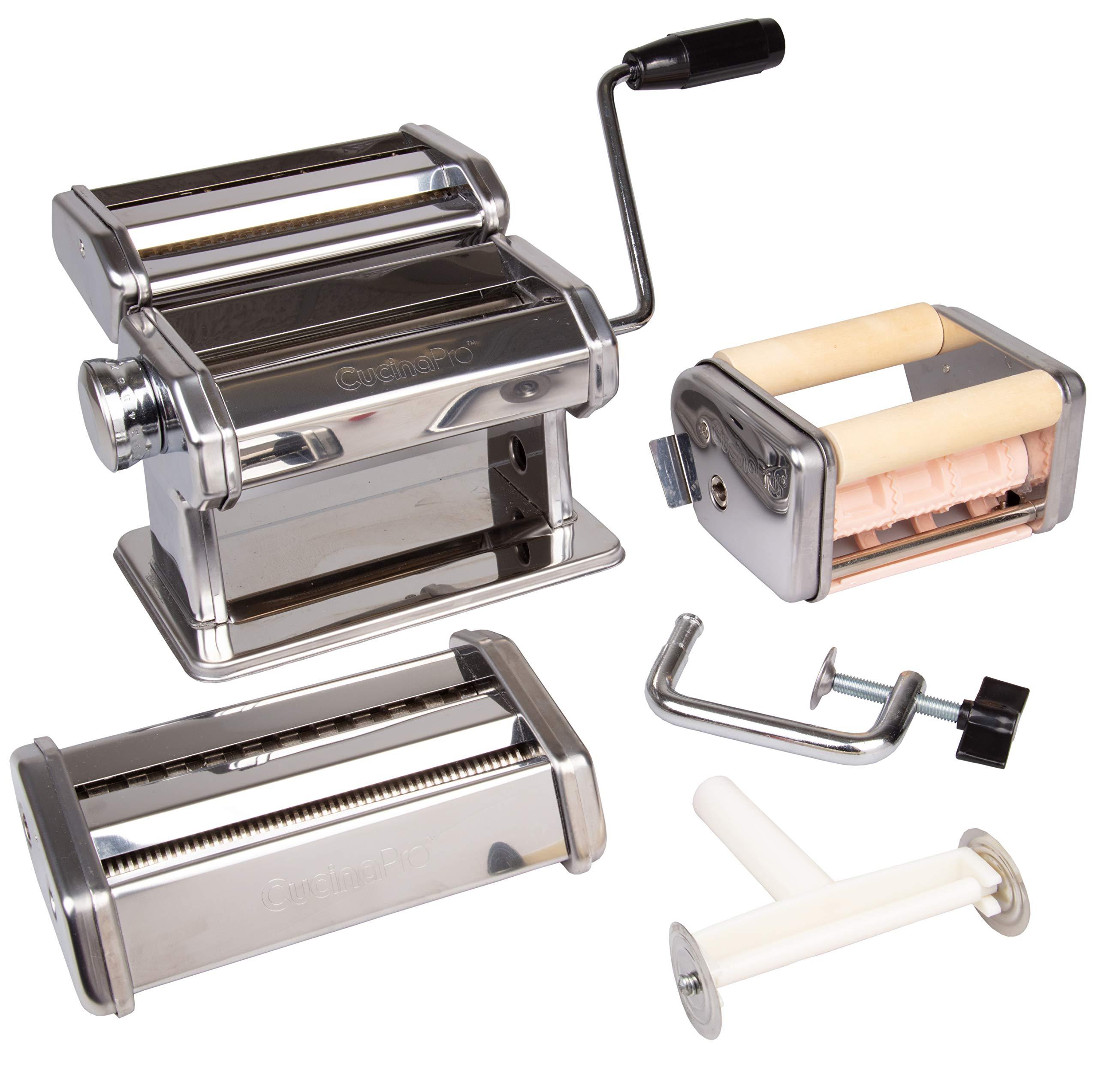 Pasta Maker Deluxe Set- Machine w Attachments for 5 Authentic Pastas- Spaghetti, Fettucini, Angel Hair, Ravioli, Lasagnette All in One by CucinaPro