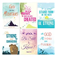 Cavepop Inspirational Bible Verse Quote Greeting Cards Stationary Set, Thinking of You Encouragement Cards with Envelopes - 4 x 6 Inches - 36 Pack (6 Designs)