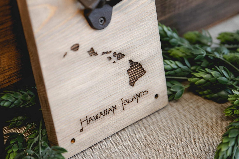 Hawaiian Islands Wood Beer Bottle Opener Wall Mount