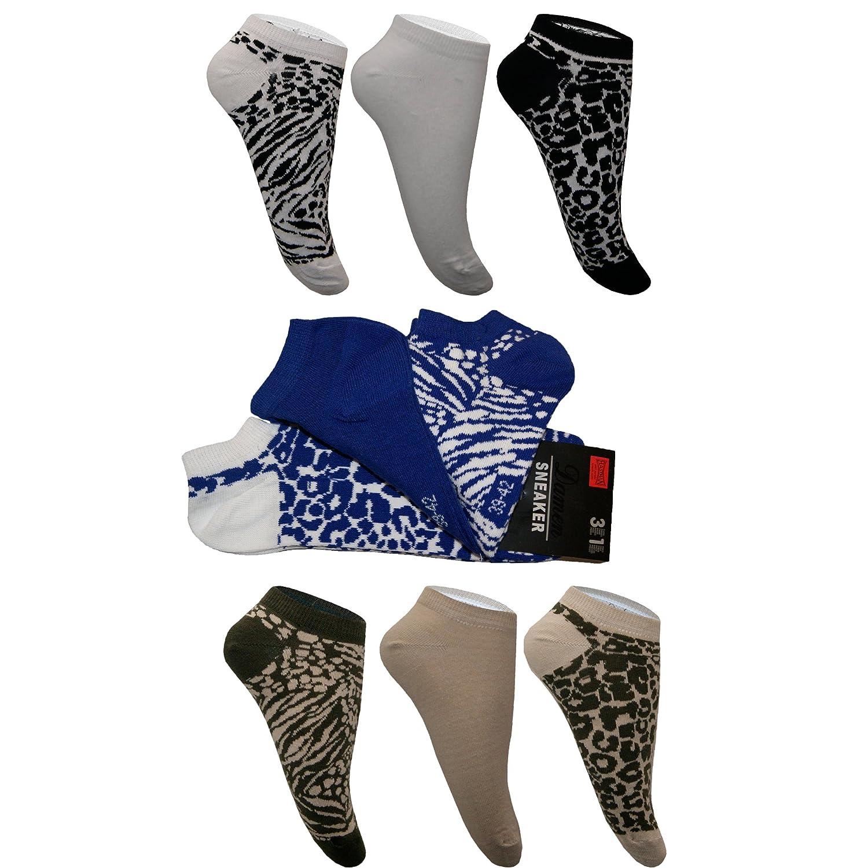 9 Paar Sneaker Socken Kurzsocken Freizeitsocken Baumwolle Leopard Tiger Muster Unifarbe Damen von SGS
