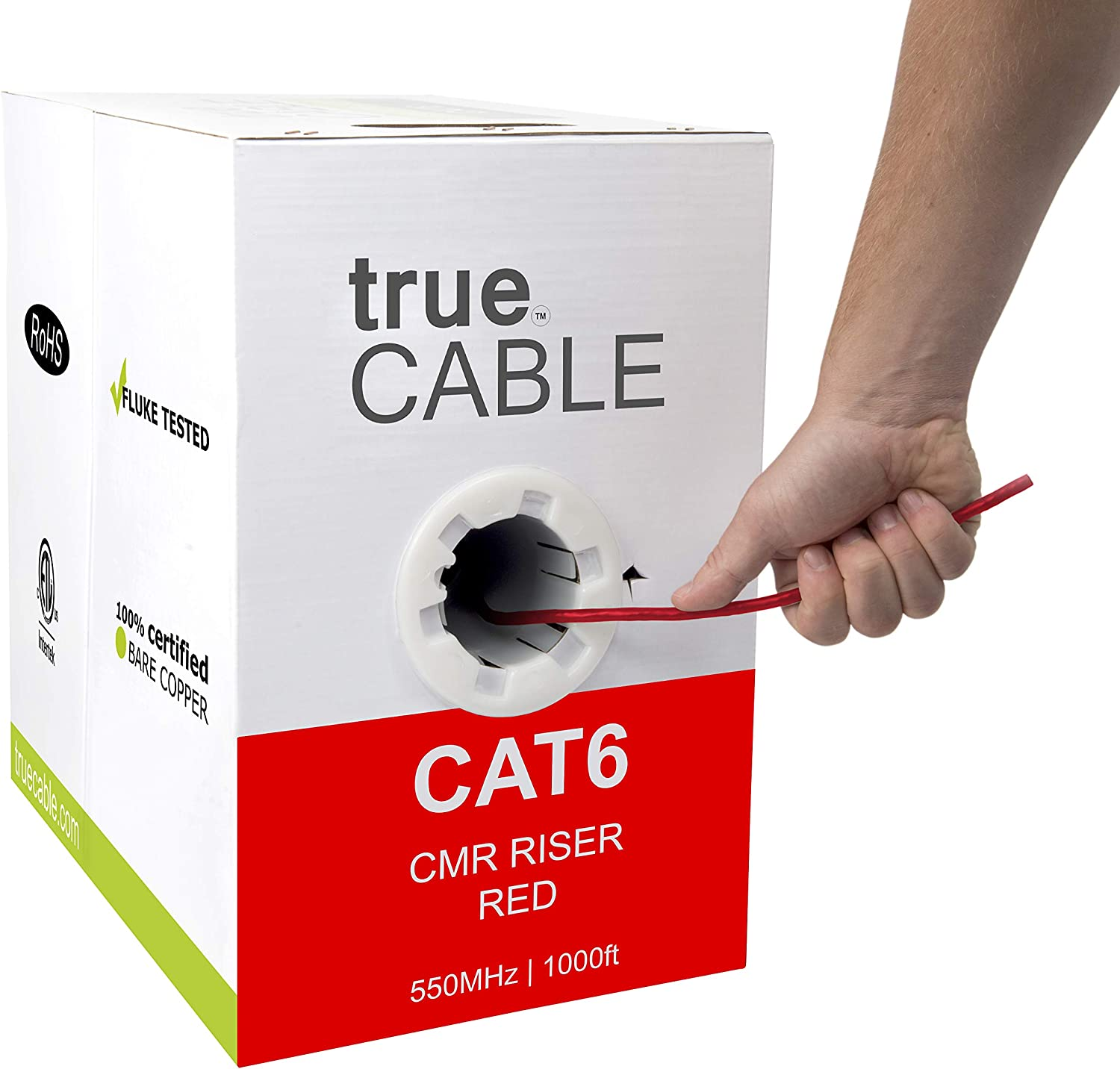 NO SPLINE 23 AWG Copper CAT6 CMR Ethernet Network Cable Red 1000FT