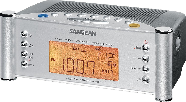 Silver Sangean RCR-2 AM//FM Atomic Clock Radio