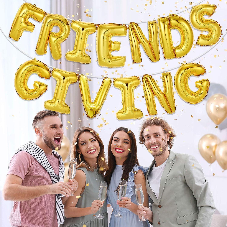 Friendsgiving Balloons Thanksgiving Party Balloons Mylar Balloons Friendsgiving Party Party Balloons Gold Friendsgiving Gold Balloons