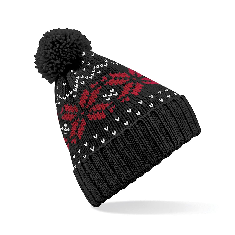9370be1b72168 Amazon.com  Beechfield Unisex Fair Isle Snowstar Winter Beanie Hat (One  Size) (Black   White)  Clothing
