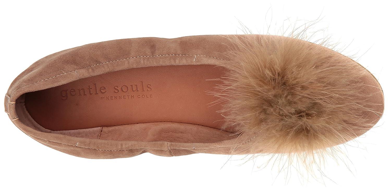 Gentle Souls Women's Portia Feather Pom Ballet Flat B076V2N8HD 6.5 B(M) US|Camel