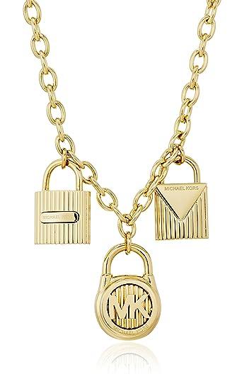 953d187eade20 Amazon.com  Michael Kors Gold-Tone Steel Multi-Padlock Pendant ...