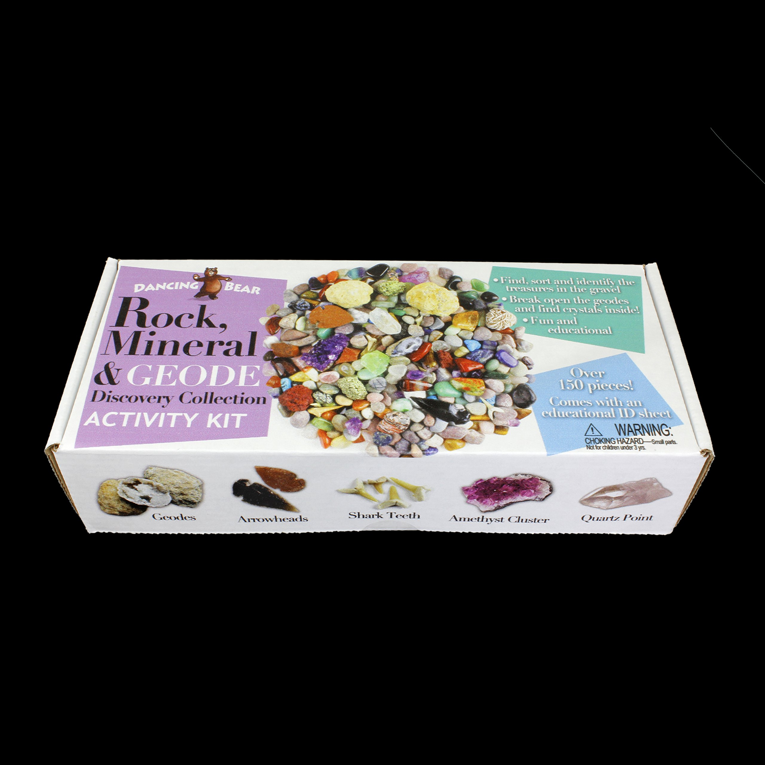 Dancing Bear Rock & Mineral Collection Activity Kit (Over 150 Pcs) , Educational Identification Sheet Plus 2 Easy Break Geodes, Fossilized Shark Teeth and Arrowheads, Brand by Dancing Bear