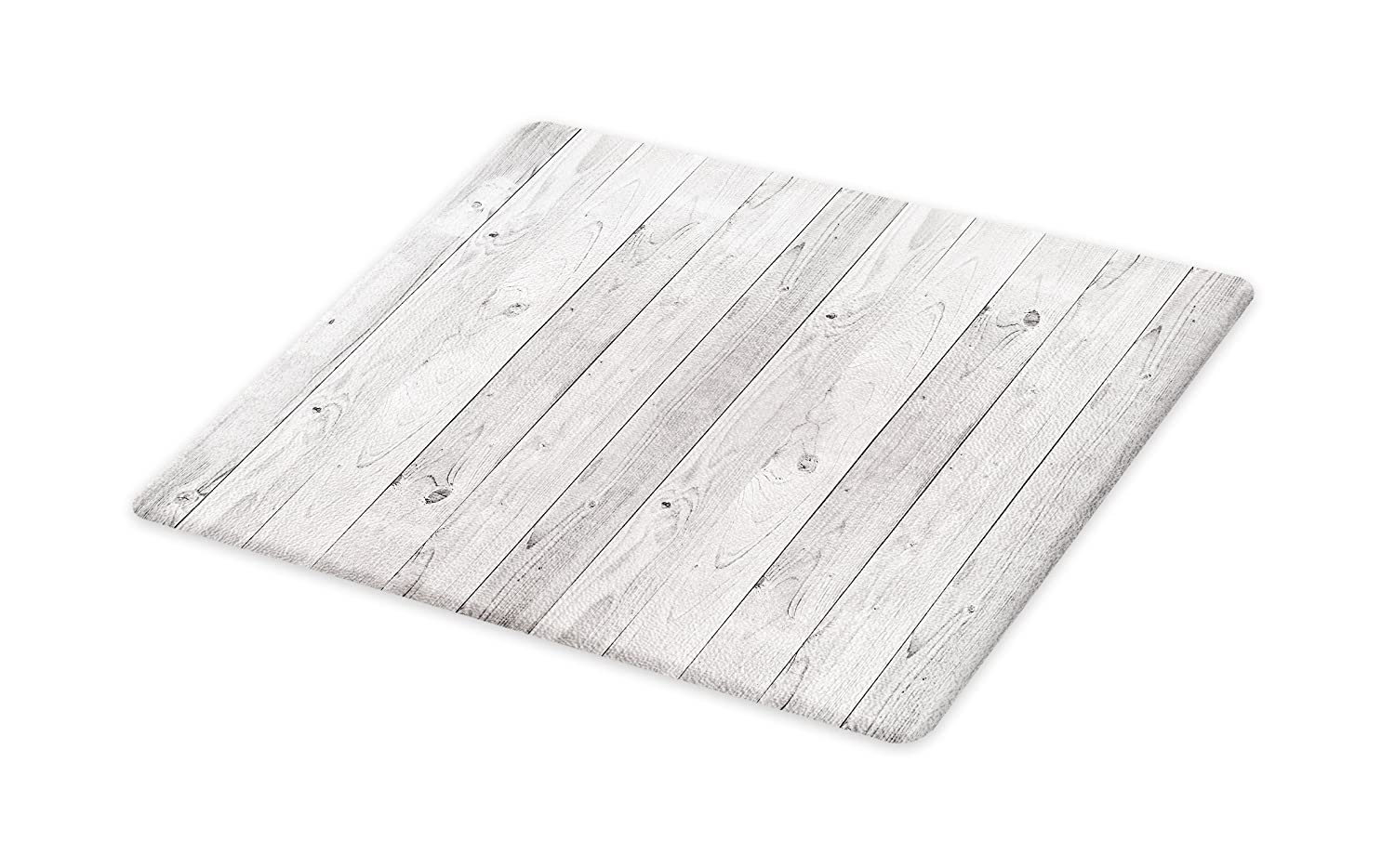 Lunarable Grey Cutting Board, Picture of Smooth Oak Wood Texture in Old Fashion Retro Style Horizontal Nature Design Home, Decorative Tempered Glass Cutting and Serving Board, Small Size, Gray