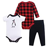 Hudson Baby Bodysuit and Pant Set, Penguin, 0-3 Months (3M)