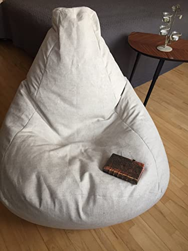 24a14a5cc0 Eco friendly adult bean bag chair - Natural linen beanbag cover - Birthday  gift - Scandinavian interior floor pillow - Minimalist style pouf - With  Insert ...