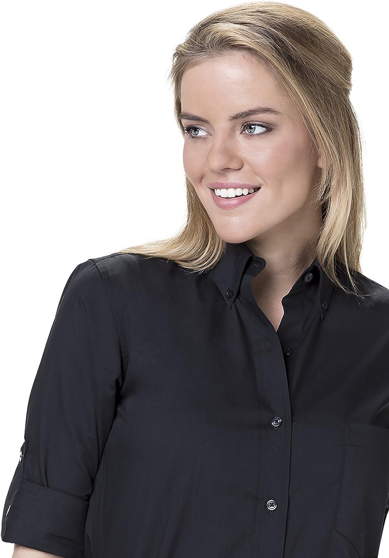 Staff Shirts De las mujeres Servidor camisas Wo abotonada camisa regular botón Fit acumulativo de la manga de manga larga Cuello Con bolsillo del estilo Ava: Amazon.es: Ropa y accesorios