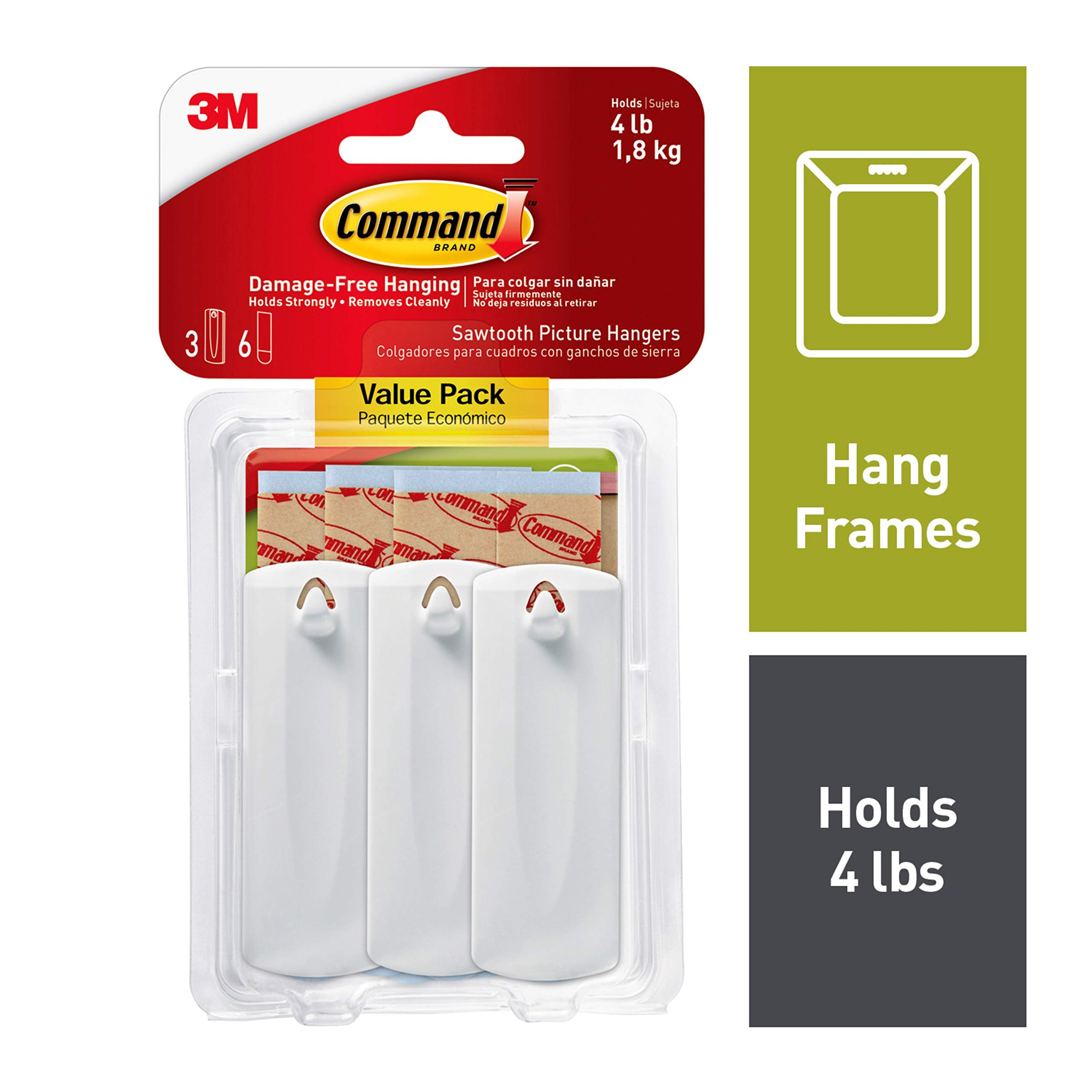 Large Command Canvas Hanger - Easy to PH044-3NA 3-Hangers  4-Strips White
