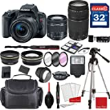 Canon EOS Rebel SL2 DSLR Camera w/ EF-S 18-55mm f/4-5.6 IS STM and EF 75-300mm f/4-5.6 III Lenses + Professional Accessory Bundle