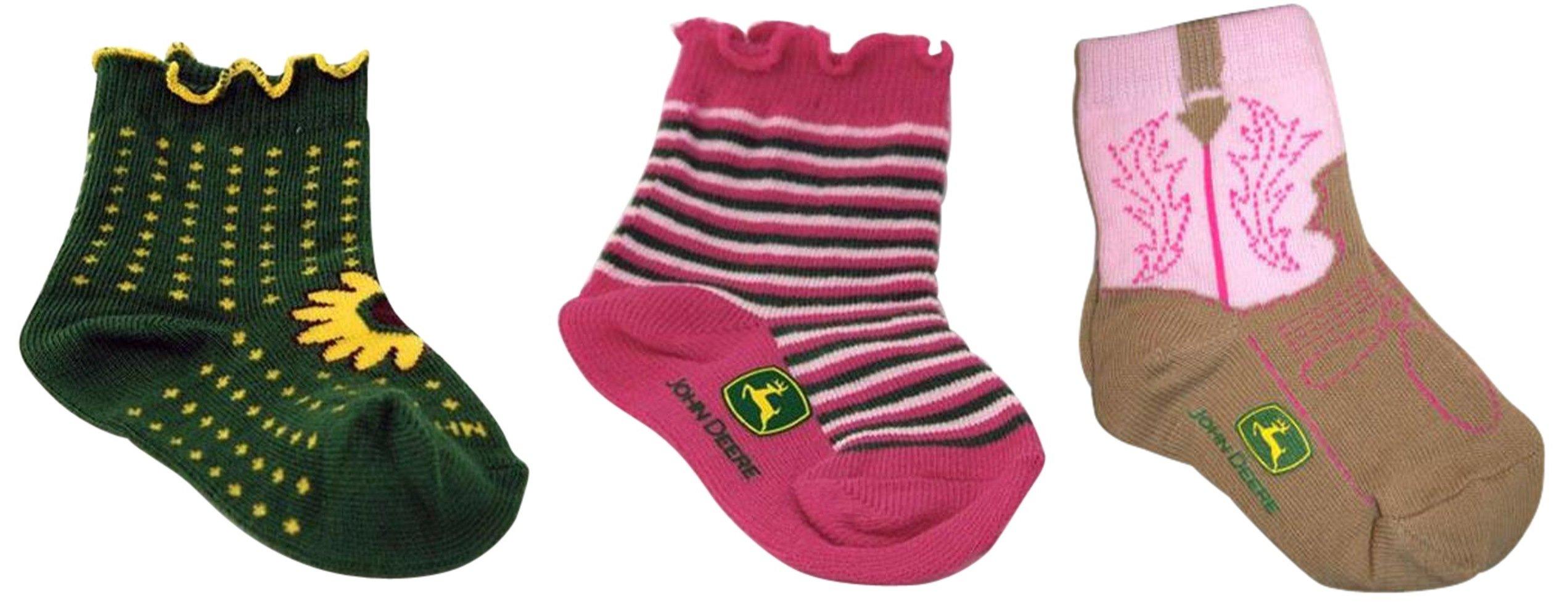 John Deere Girls Sunflower - Multistripe - Pink Boot - 3 Pair Sock Bundle 12-24 months