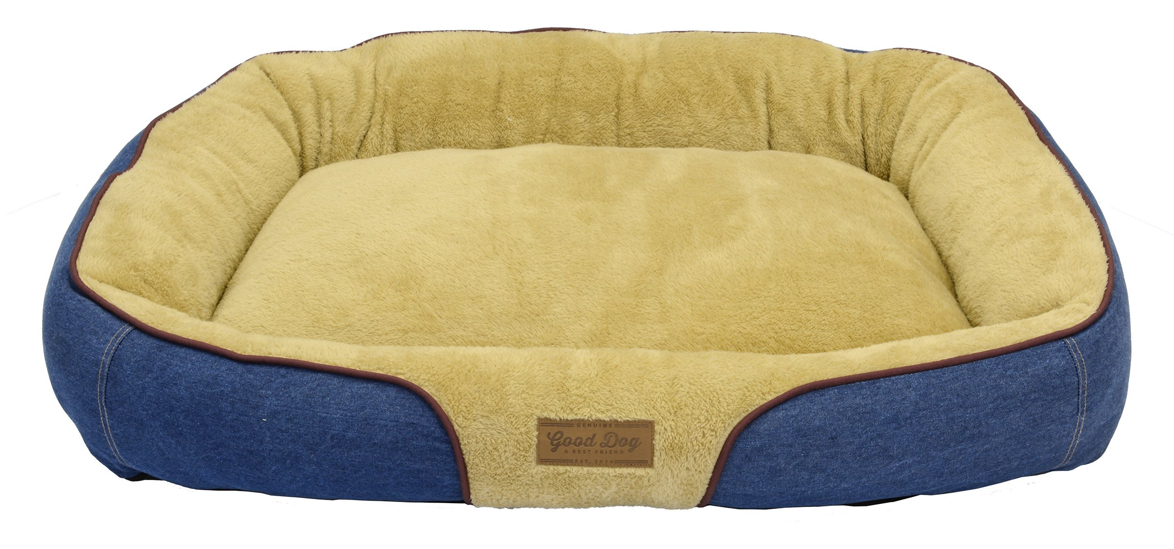 Dallas Manufacturing Co. 34''X25'' large Bolster Dog Bed with Wine Piping