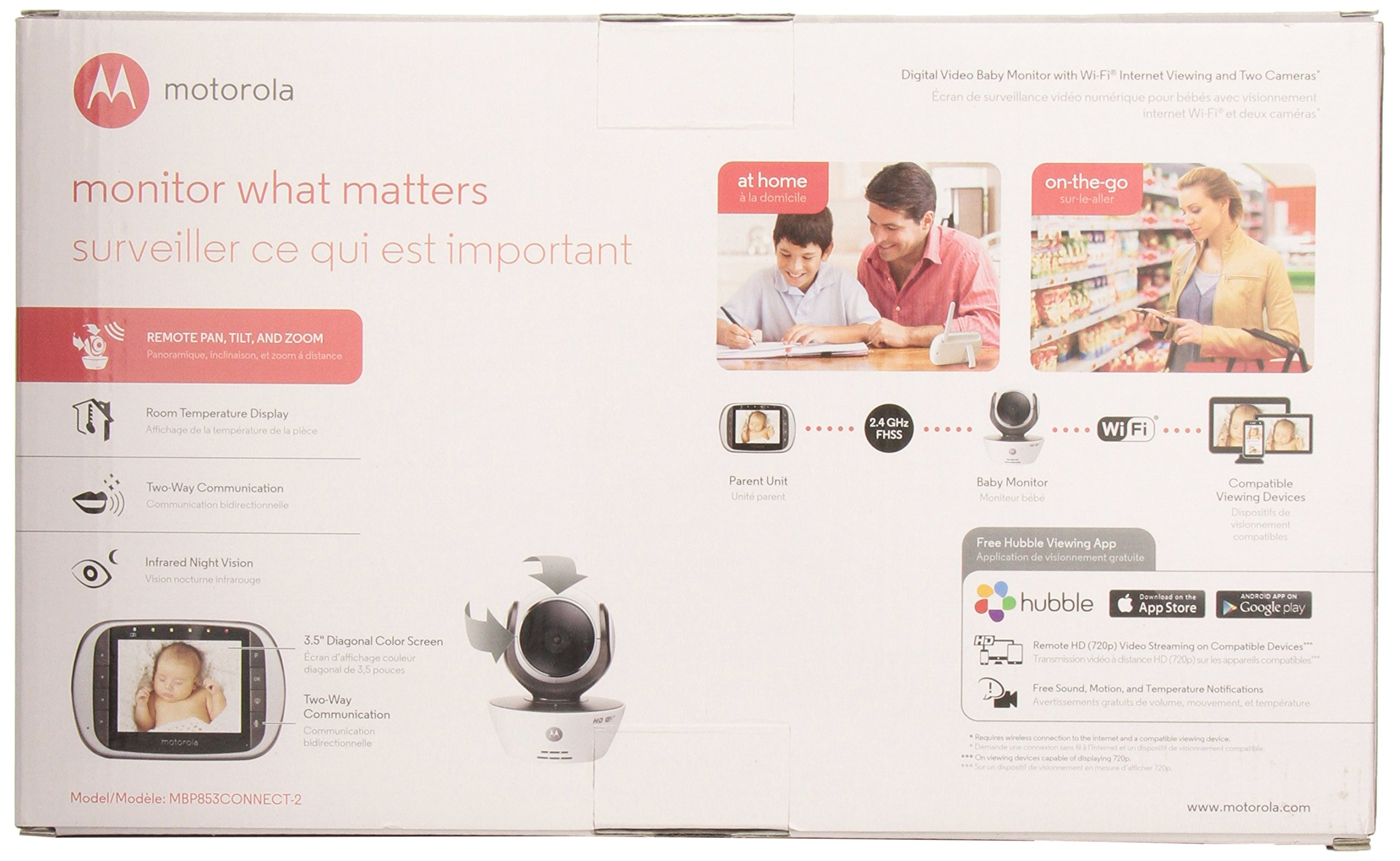 Motorola MBP853CONNECT-2 Dual Mode Baby Monitor with 2 Cameras and 3.5-Inch LCD Parent Monitor and Wi-Fi Internet Viewing by Motorola Baby (Image #13)
