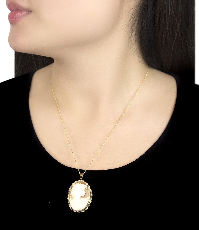 Carissima Gold 9ct Yellow Gold Roman Cameo Brooch Pendant