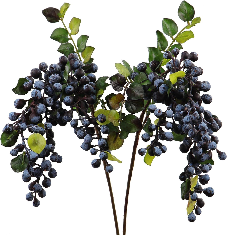 craft supply Faux Blueberry Cluster Branch Silk flower stem wedding flower artificial fruit artificial flower stem