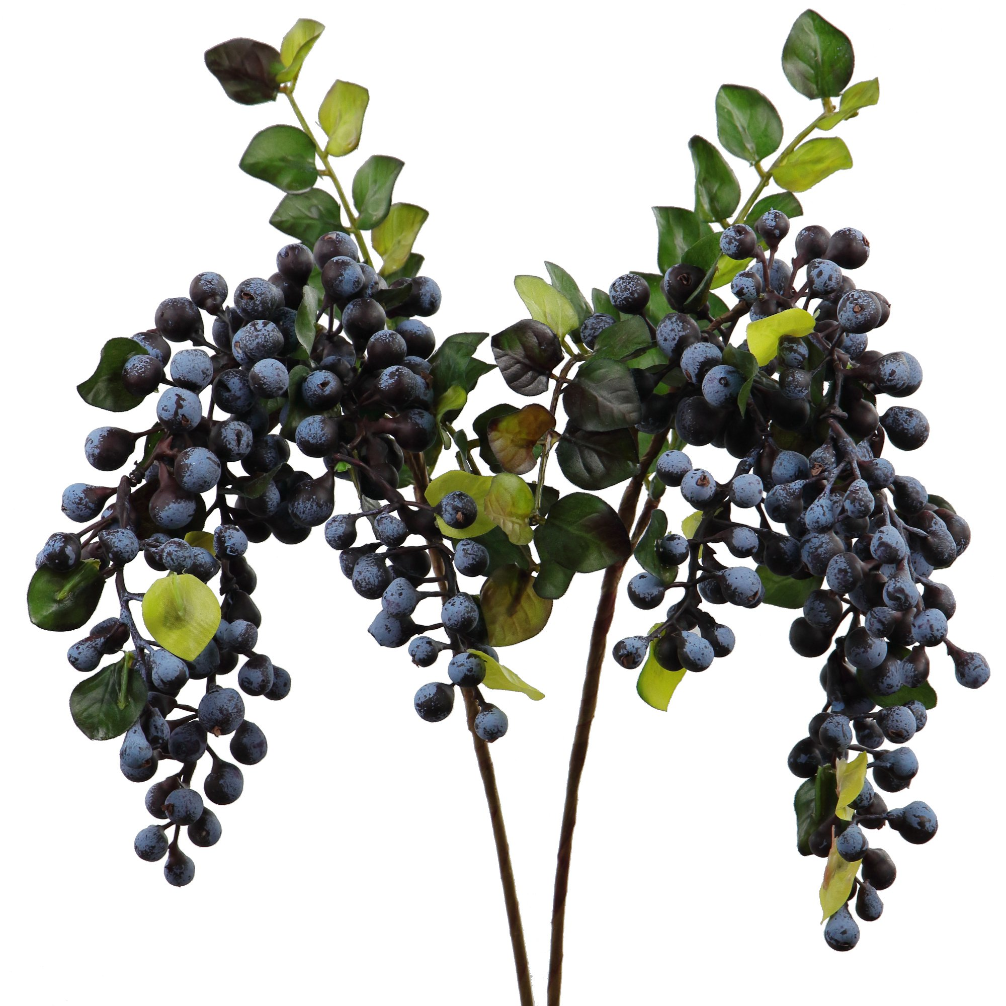 Rinlong Artificial Berries Hanging Spray Frosted for Flowers Arrangement Home Hotel Decor 2pcs per Pack (Navy Blue)