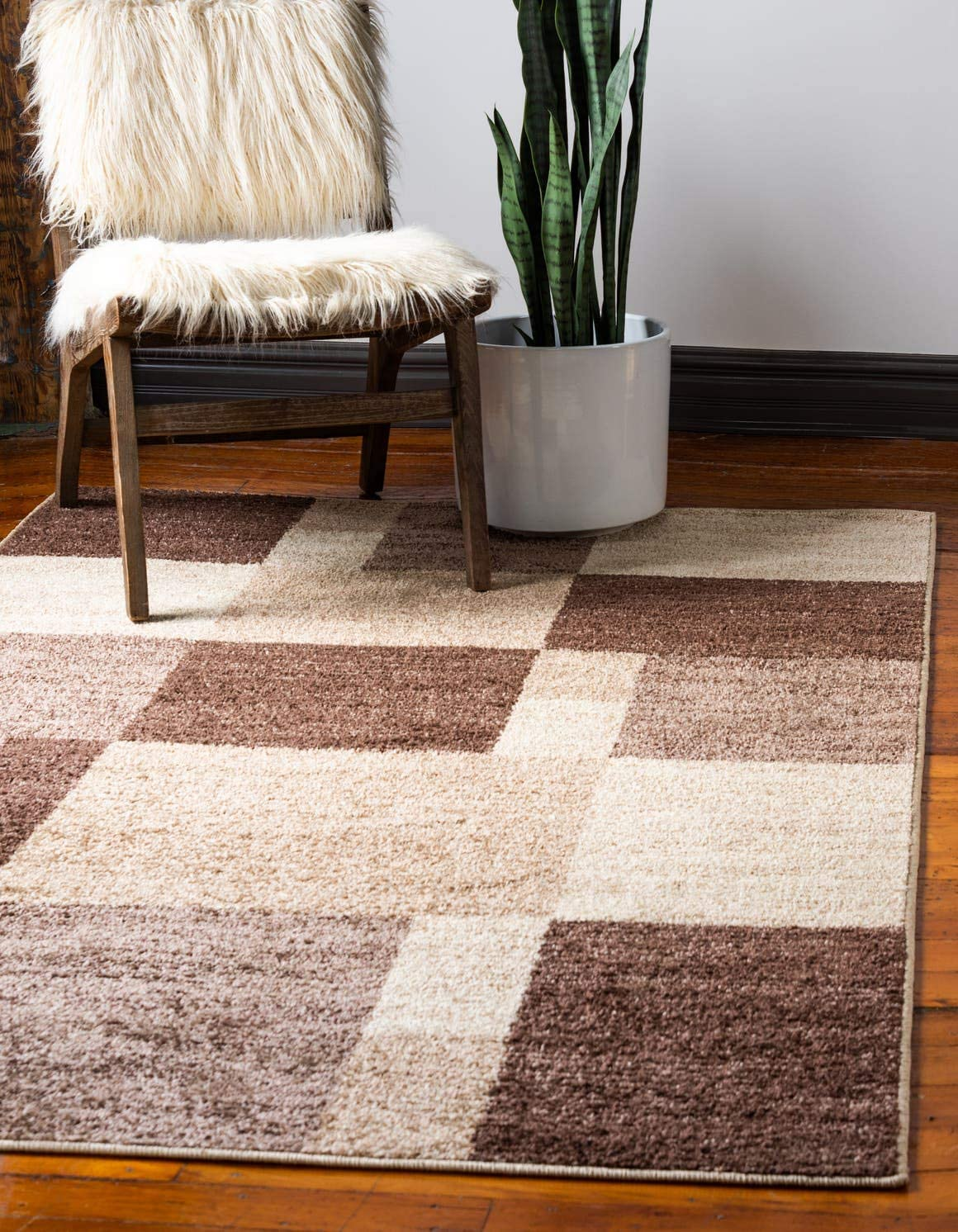 Unique Loom Autumn Collection Abstract Checkered Casual Warm Toned Light Brown Area Rug 2 0 x 3 0