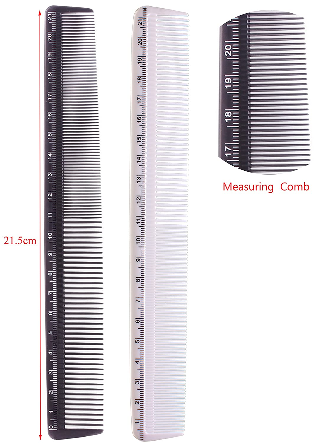 Professional Hair Cutting Comb Set, Salon Styling Measure Combs,Black and  White
