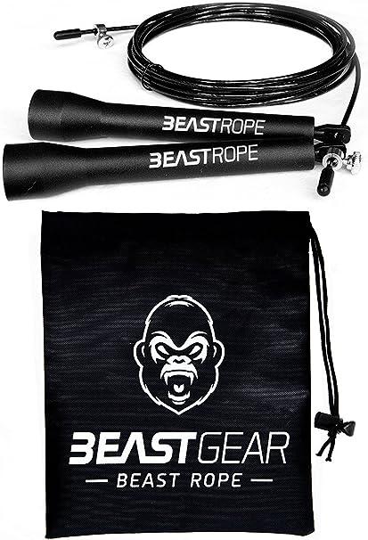 Corde A Sauter Beast Gear Speed Rope Pour Entrainement Crossfit Fitness Boxe Mma Gym Accessoire Cardio Ideal Pour Maigrir Bruler Des Calories Se Muscler Amazon Fr Sports Et Loisirs