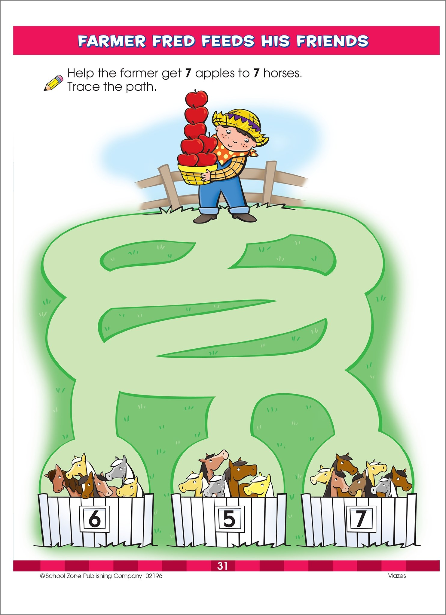 Mazes Preschool Workbook, Ages 3-5, clever scenes, playful problem ...