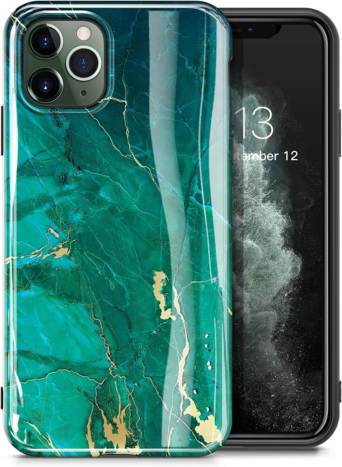 GVIEWIN Marble iPhone 11 Pro Case, Ultra Slim Thin Glossy Soft TPU Rubber Gel Phone Case Cover Compatible iPhone 11 Pro 5.8 Inch 2019 Release (Green/Gold)