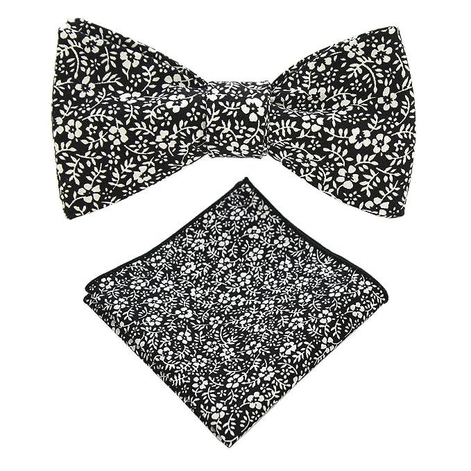 06809137156d JEMYGINS Cotton Floral Self Tie Bow Tie and Pocket Square Set for Men (35)