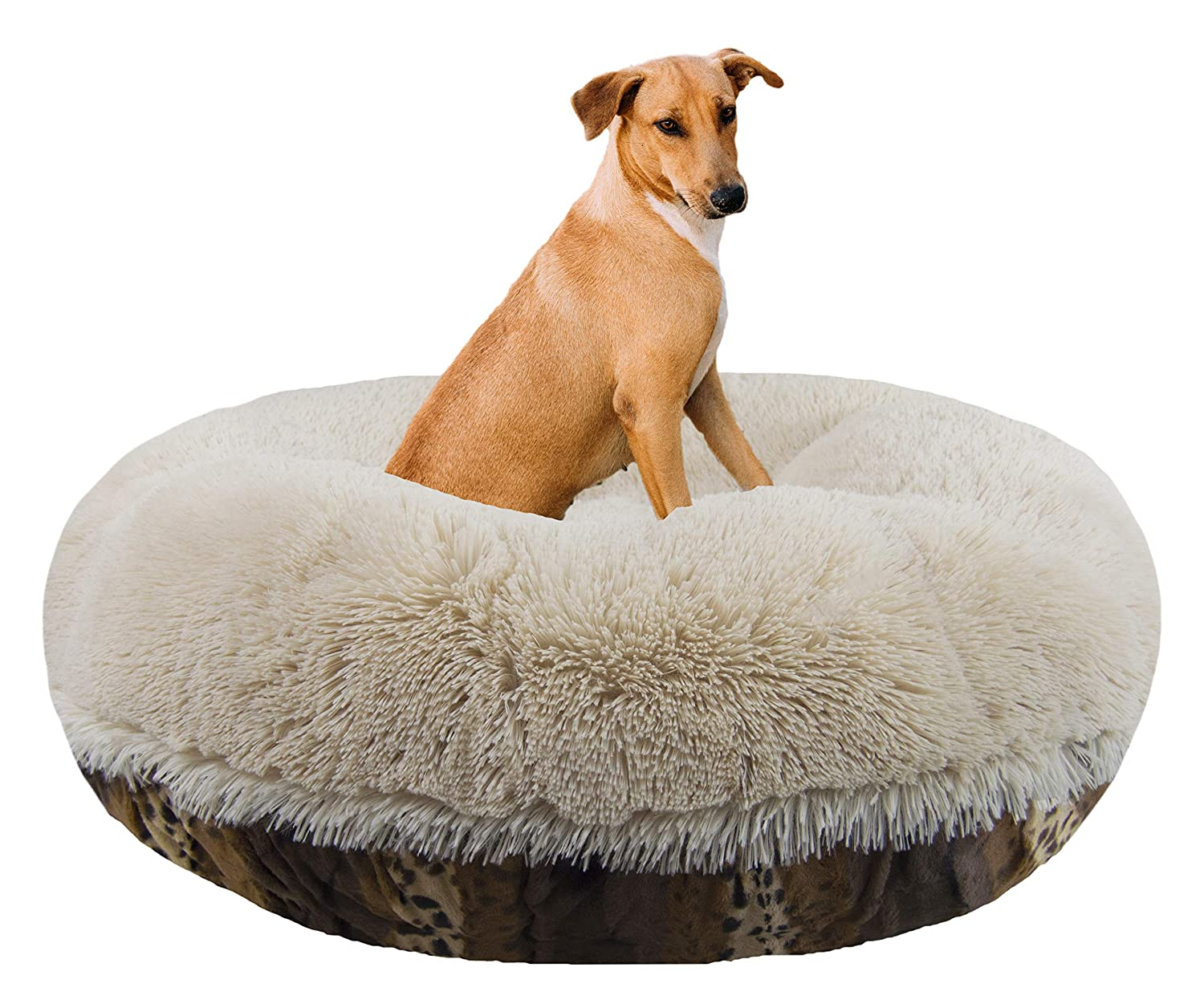 Bessie and Barnie Signature Wild Kingdom Blondie Luxury Shag Extra Plush Faux Fur Bagel Pet Dog Bed Multiple Sizes