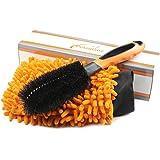 Putzglanz Premium Felgenbürste und Mikrofaser Autowaschhandschuh zur professionellen Felgenreinigung - Schonende und gründliche Reinigung von Stahl- und Alufelgen – Immer saubere Felgen (Orange-Schwarz)