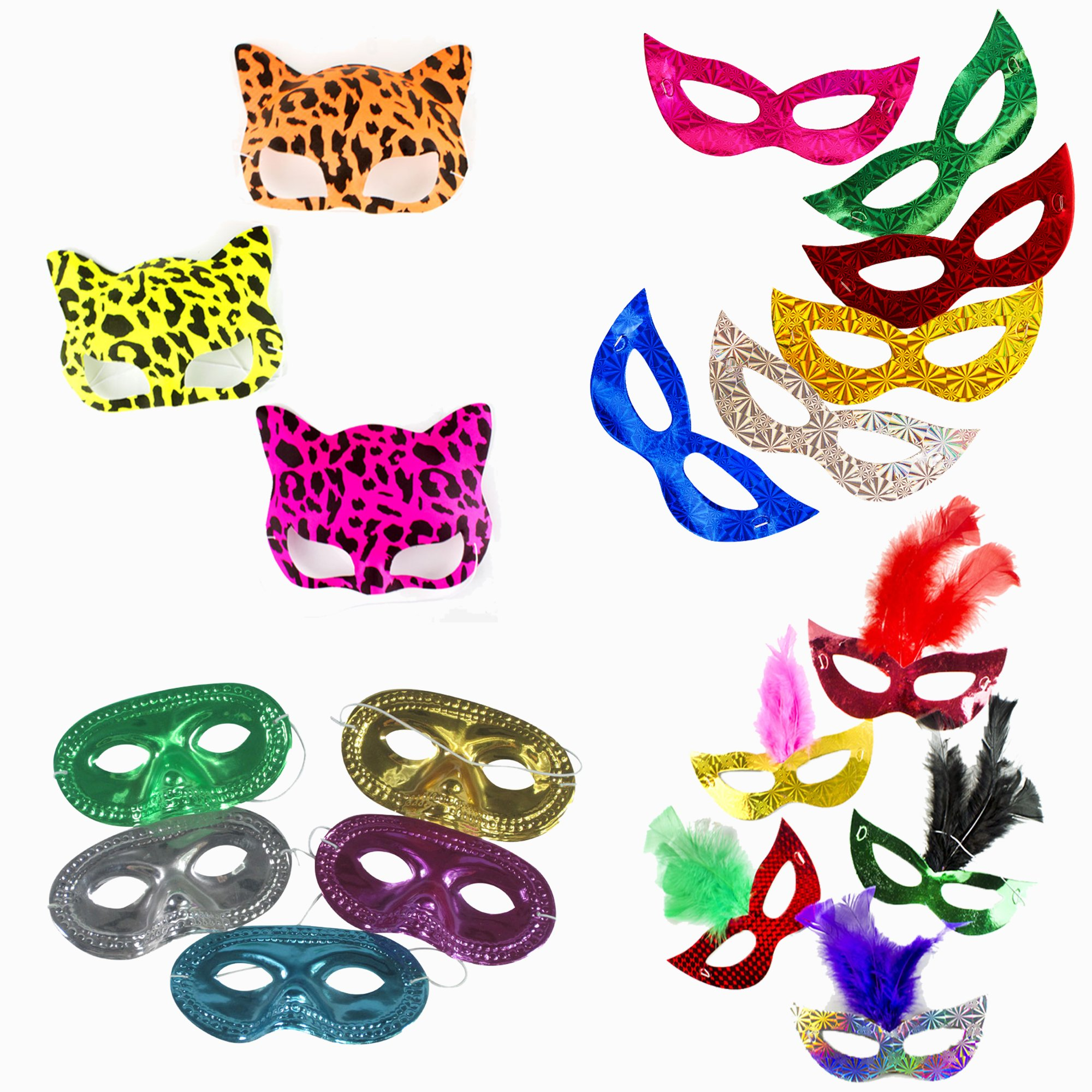 Fun Central (BC830, Mask Party Pack, Party Masks for Kids, Masks Party Supplies, Includes: 12 Pcs of Metallic Half Mask, Prismatic Masks, Leopard Print Neon Cat Masks, and Prismatic Feather Masks