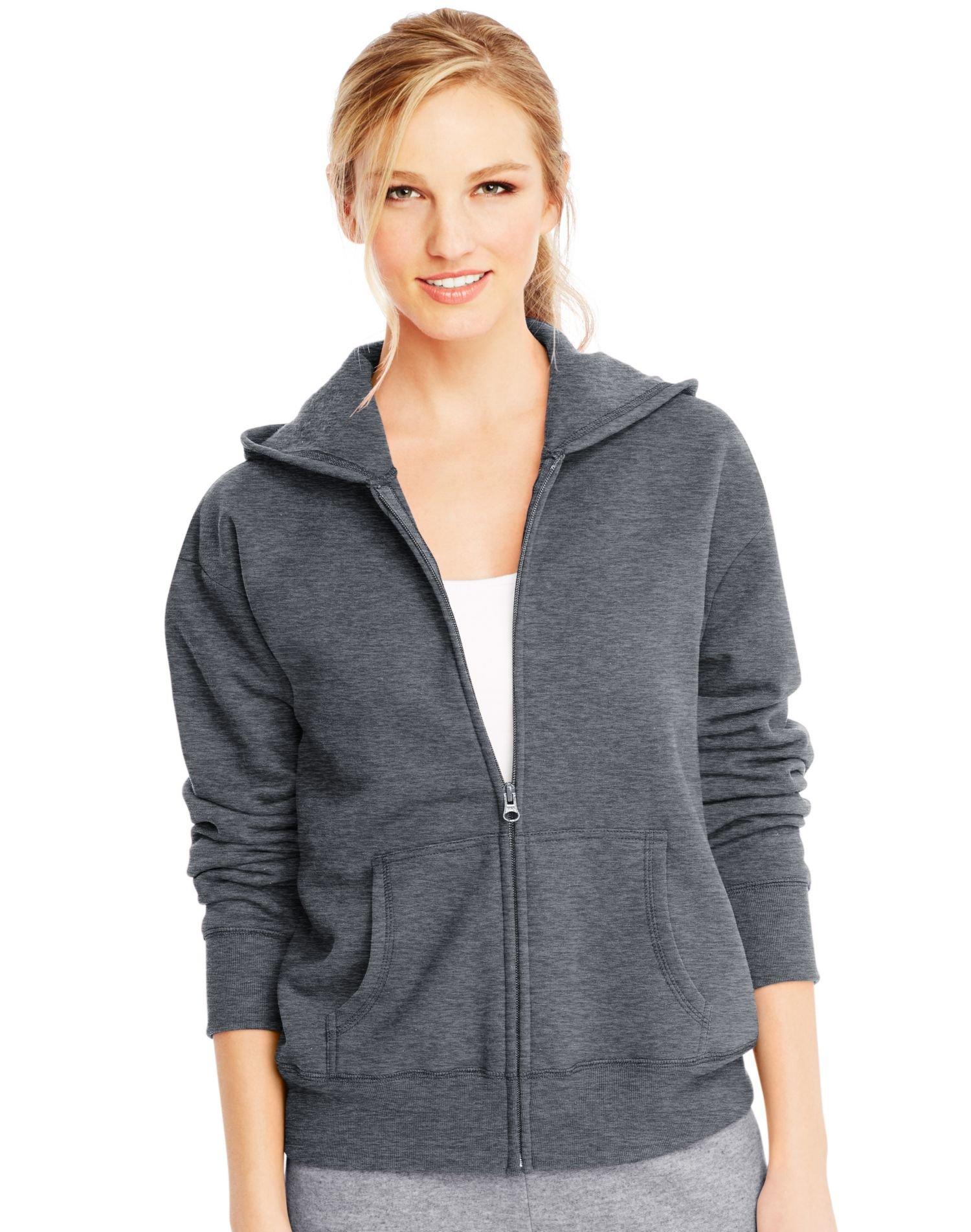 Hanes Women's Full-Zip Hooded Jacket, Slate Heather, x Large