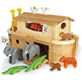 "EverEarth EE33727 ""Giant Noah's Ark"" Playset with 14 Animals/Bamboo/Wood"