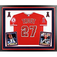$1087 » Mike Trout Los Angeles Angels of Anaheim Deluxe Framed Autographed Majestic Authentic Scarlet Jersey - Fanatics Authentic Certified
