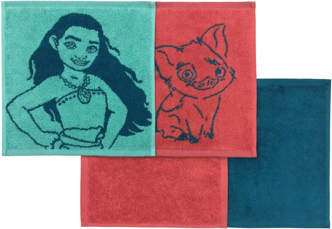 Disney Moana Washcloth Set Blue//Red