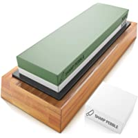 Sharp Pebble Premium Sharpening Stone 2 Side Grit 3000/8000 Whetstone | Best Kitchen Knife Sharpener Waterstone with Non-Slip Bamboo Base & Flattening Stone