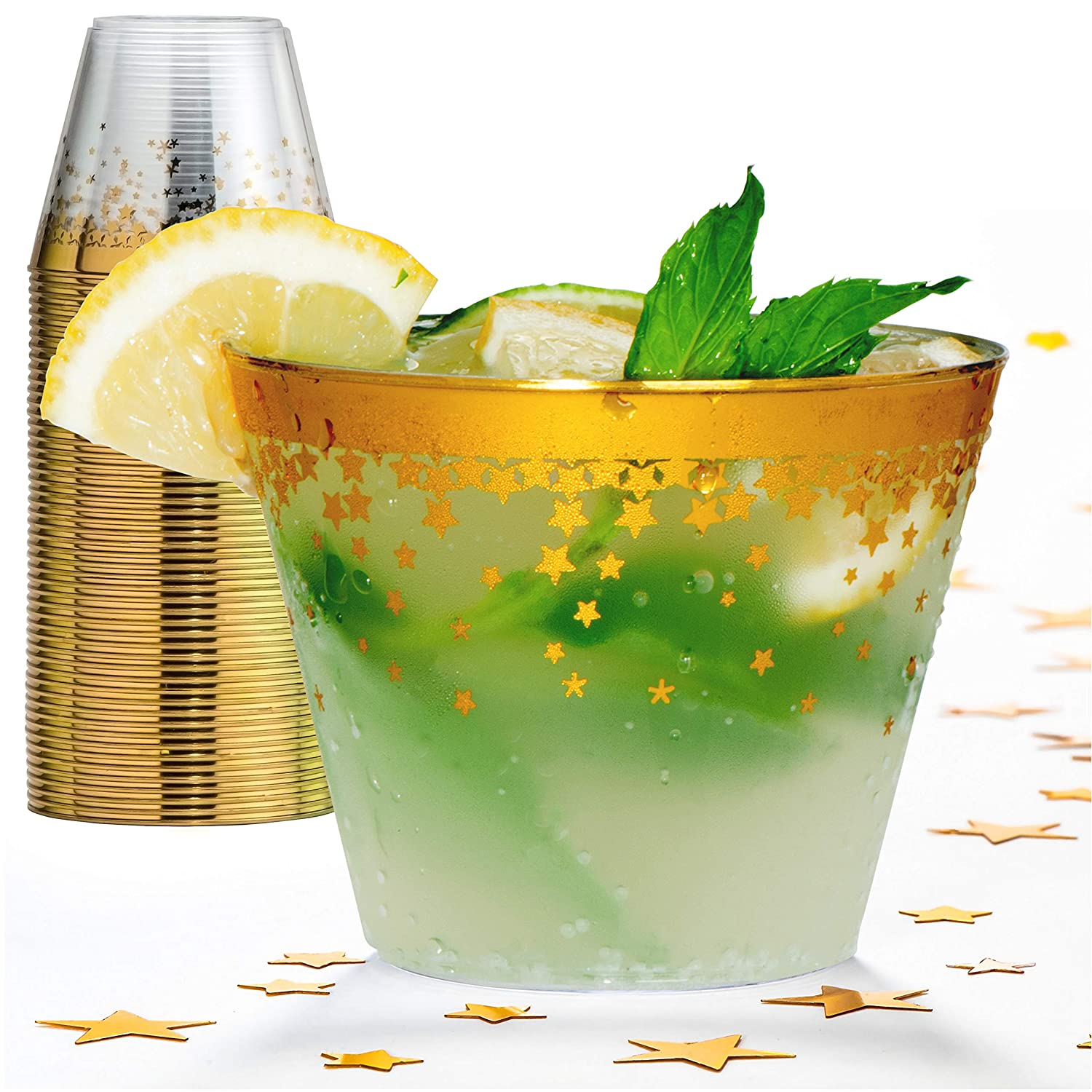 Gold Rim Plastic Party Cups – 9 Oz Disposable Plastic Tumblers 100 Count Clear Cocktail Glasses Tumblers Great Party & Hosting Supplies Wedding Showers Birthdays Bonus Decorative Star Design Conffeti