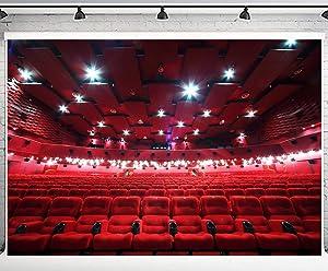 PHMOJEN 10x7ft Red Cinema Interior Seats Photography Backdrop Theater Spotlight Background Vinyl Photo Studio Props LYPH994