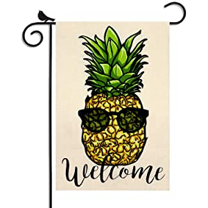 WEYON Garden Flag Pineapple Welcome Double Sided Seasonal Spring Summer Funny Decorative Flags for Outside Yard , 12.5 x 18 Inch